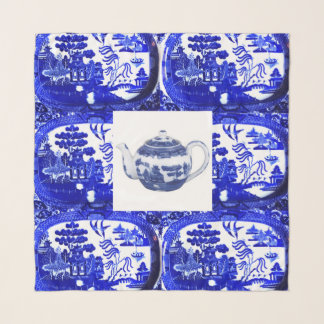 Blue Willow Teapot Square Scarf