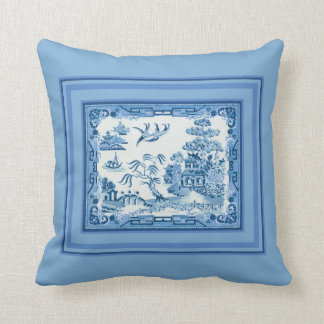 Blue Willow with Frame Throw Pillow