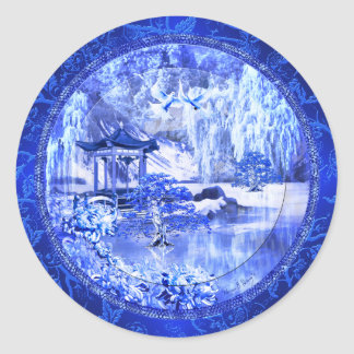 """Blue Willow World"" Art Stickers"