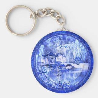 """""""Blue Willow World"""" Button Keychain"""