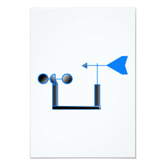 """Blue Wind Speed and Weather Vane 3.5"""" X 5"""" Invitation Card"""