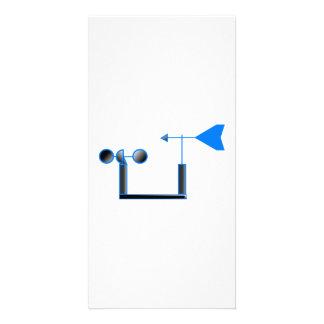 Blue Wind Speed and Weather Vane Custom Photo Card