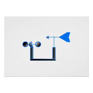 Blue Wind Speed and Weather Vane Poster