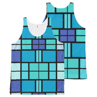 Blue window design All-Over print singlet