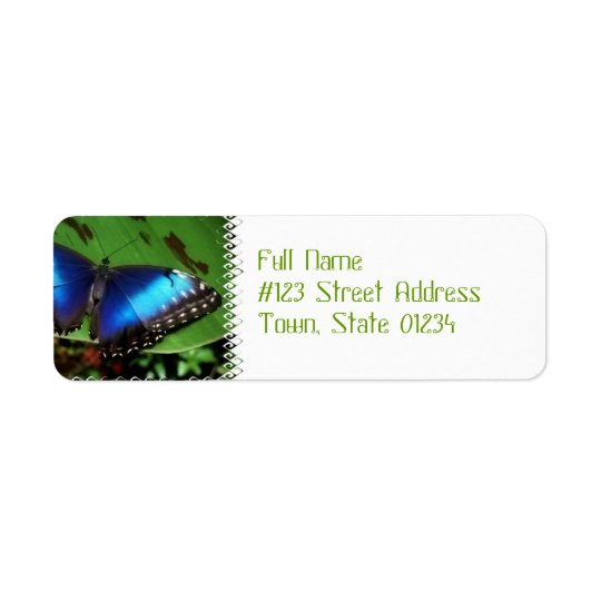 Blue Wing Butterfly Mailing Labels