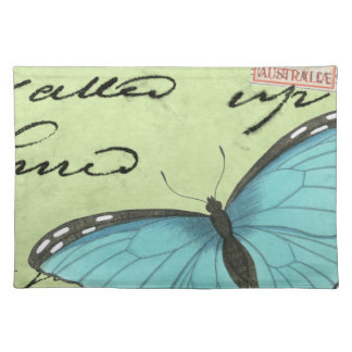 Blue-Winged Butterfly on Teal Postcard Place Mat
