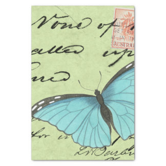 Blue-Winged Butterfly on Teal Postcard Tissue Paper
