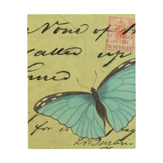 Blue-Winged Butterfly on Teal Postcard Wood Wall Decor