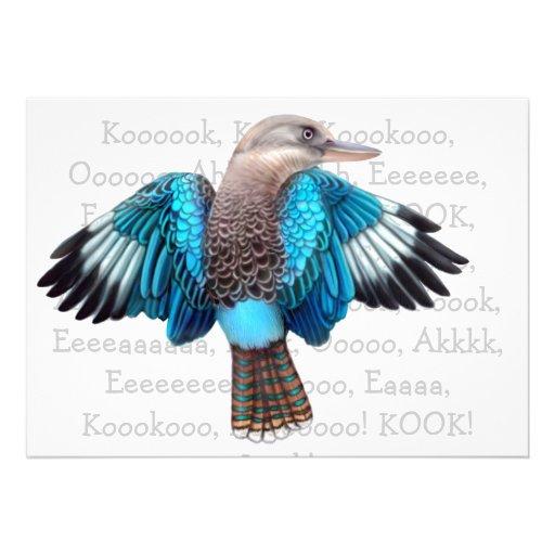Blue Winged Kookaburra Invitation