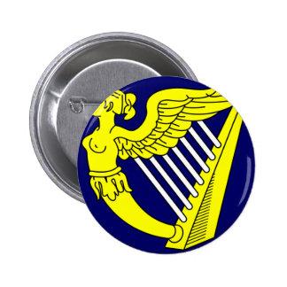 Blue Winged Maiden Harp, Ireland flag 6 Cm Round Badge