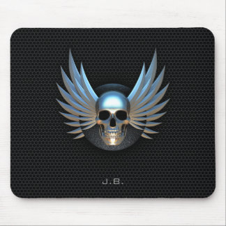 Blue Winged Skull Mouse Pad