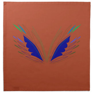 Blue wings on brown napkin