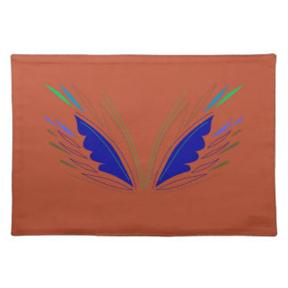 Blue wings on brown placemat