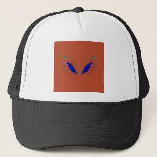 Blue wings on brown trucker hat