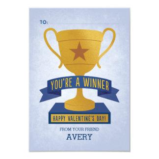 Blue Winner's Trophy Classroom Valentine Card