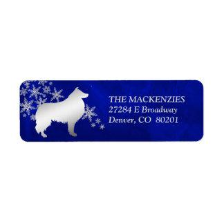 Blue Winter Collie Dog Return Address Return Address Label