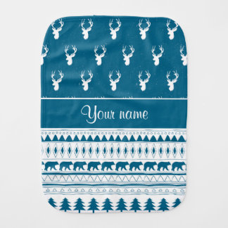 Blue Winter Deer Tribal Aztec Pattern Burp Cloth