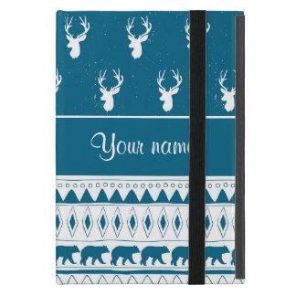 Blue Winter Deer Tribal Aztec Pattern Case For iPad Mini