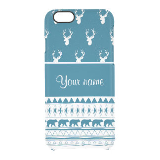 Blue Winter Deer Tribal Aztec Pattern Clear iPhone 6/6S Case