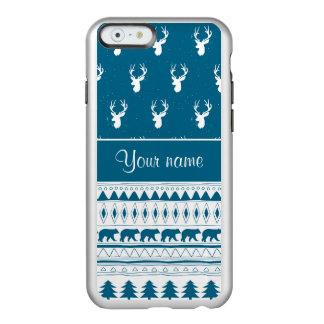 Blue Winter Deer Tribal Aztec Pattern Incipio Feather® Shine iPhone 6 Case