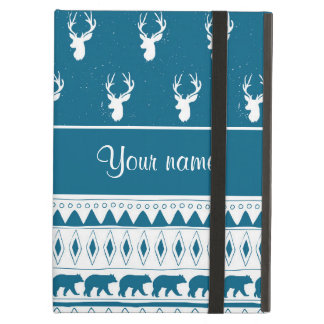 Blue Winter Deer Tribal Aztec Pattern iPad Air Cover