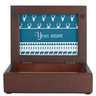 Blue Winter Deer Tribal Aztec Pattern Keepsake Box