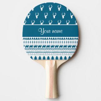 Blue Winter Deer Tribal Aztec Pattern Ping Pong Paddle