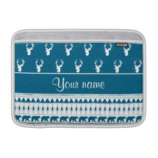 Blue Winter Deer Tribal Aztec Pattern Sleeve For MacBook Air
