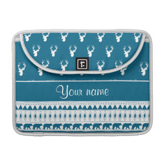 Blue Winter Deer Tribal Aztec Pattern Sleeve For MacBook Pro