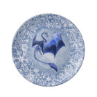 Blue Winter Dragon Fantasy Nature Art Plate