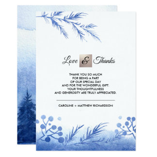 Blue Winter Forest Thank You Wedding Flat Cards