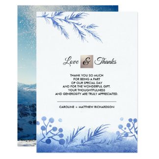 Blue Winter Forest Thank You Wedding Photo Cards