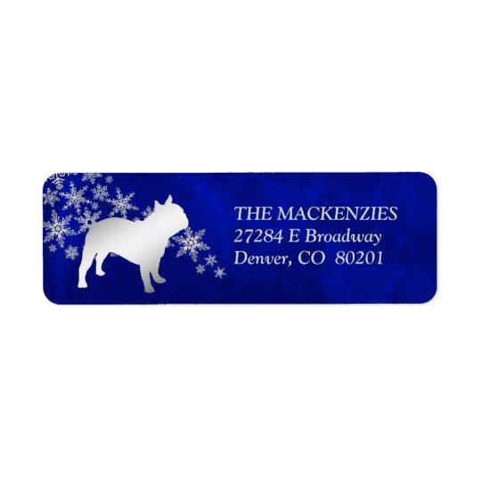 Blue Winter French Bulldog Return Address Return Address Label