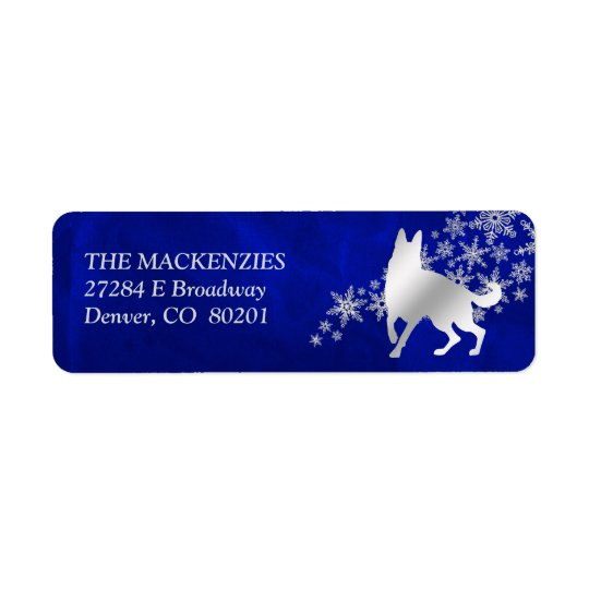 Blue Winter German Shepherd Dog Return Address Return Address Label