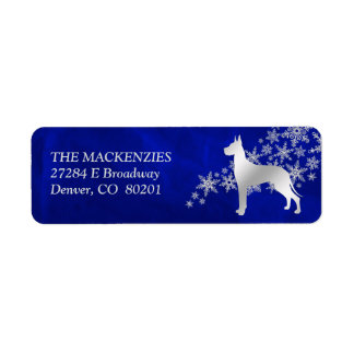 Blue Winter Great Dane Return Address Return Address Label