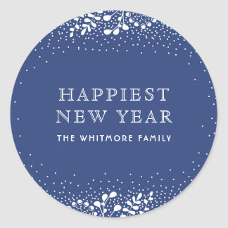 Blue Winter Holidays Classic Round Sticker