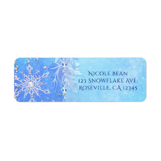 Blue Winter Leaves & Snowflakes Party Invitation Return Address Label