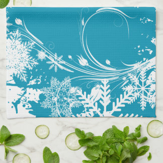 Blue Winter Meadow - Happy Holidays Tea Towel