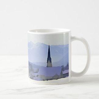 Blue Winter Mountain Village Scene Coffee Mug
