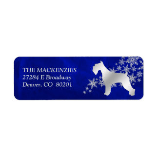 Blue Winter Schnauzer Return Address Return Address Label