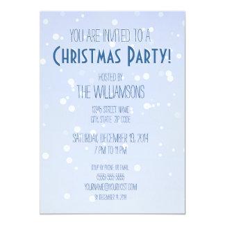 Blue Winter Snow Christmas Party 13 Cm X 18 Cm Invitation Card