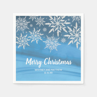 Blue Winter Snowflake Christmas Wedding Party Disposable Serviettes
