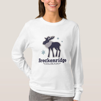 Blue winter snowflake moose Breckenridge Colorado T-Shirt