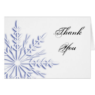 Blue Winter Snowflake on White Thank You Card