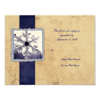 Blue Winter Snowflake Vintage Wedding RSVP 11 Cm X 14 Cm Invitation Card