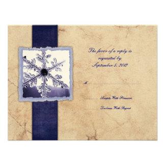 Blue Winter Snowflake Vintage Wedding RSVP Announcements