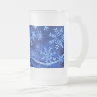 Blue Winter Snowflakes Christmas Frosted Glass Beer Mug