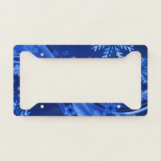 Blue Winter Snowflakes Christmas Licence Plate Frame