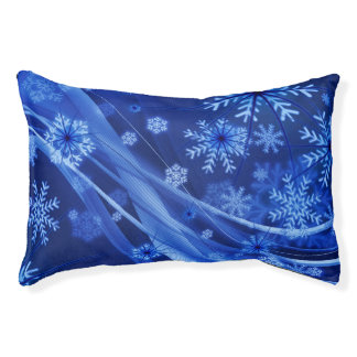 Blue Winter Snowflakes Christmas Pet Bed