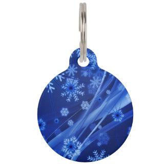 Blue Winter Snowflakes Christmas Pet Tag